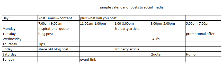 Sample Social Media Calendar Editorial